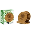 4pc Round Bamboo Coaster Set in Gift Box - 4pc Round Bamboo Coaster Set in Gift Box.