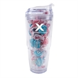 Strato 18 oz. Double Wall Tumbler with Taffy - 18 oz. double wall tumbler with straw and filled with salt water taffy.