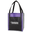 "Color Combination Large Non-Woven Grocery Tote With Pocket - Large non-woven grocery tote bag with pocket (15"" x 13"" x 10"") available in several color combinations and featuring 22"" reinforce"