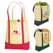 "Grocery Getter Snap Closure Tote - Non-woven tote bag with a 4 3/4"" gusset."