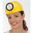 Miner's Hard Hat With Light - Rigid Plastic Miner's Hard Hat w/Light.  Packed 1 dozen. Must Order n Carton Packs.