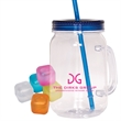 Country Mason Jar Sipper and Ice Cubes Set