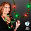 Light up beads flashing holiday necklaces-green and red