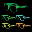 Glow-In-The-Dark Iconic Glasses - Glow in the dark plastic sunglasses with clear lenses.