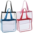 """The Fashion Clear Tote Bag - Fashion clear tote bag measuring 14"""" x 12"""" x 5"""" and made of vinyl with long handles."""