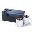 2PC White ceramic mug Gift Set w/holiday kisses Rotunda - Gift set with two 14 oz. Rotunda ceramic mugs in a luxurious gift box with Holiday Hershey Kisses.