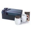 Two Piece White ceramic mug Gift Set w/Hot Chocolate Rotunda - Gift set with two 14 oz. ceramic mugs in a luxurious gift box with Hot Chocolate Mix.