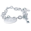 Custom White Silver Charm Bracelet - White silver charm bracelet.