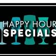 "Magnetic Floor Talker Signage -""Happy Hour Specials (Blue)"" - Magnetic full-color floor talker sign, ""Happy Hour Specials"" with blue glassware artwork"