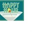 "Magnetic Floor Talker Signage - ""Happy Hour (Martini Glass)"" - Magnetic full-color floor talker sign, ""Happy Hour"" with martini glass artwork"
