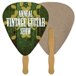 Guitar Pick Recycled Stock Shape Fan - Guitar Pick shaped fan is laminated on front with a high gloss finish.