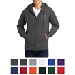 Port & Company Fan Favorite Fleece Full-Zip Hooded Sweats... - Ring-spun cotton-polyester full-zip hooded sweatshirt, featuring a locker patch, twill-taped neck and tagless private label option
