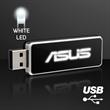 LED Logo USB On-The-Go Flash Drive, White - 4 GB