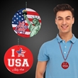 """Red 4th of July Flag Plastic Medallions - 2 1/2"""""""