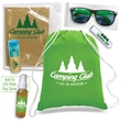 Camp Bag Kit - Drawstring sport pack with coloring book, color pencils, sunglasses and lip balm.