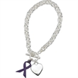 Awareness Ribbon Charm Bracelet - Toggle clasp style bracelet with flat heart and awareness ribbon charm.