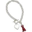 Red Dress Women's Heart Disease Charm Bracelet - Medical awareness toggle clasp style bracelet with flat heart and heart disease awareness red dress charm.