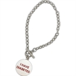 Bracelet with Custom Charm - Toggle clasp style bracelet with custom round charm.