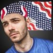 "American Flag Bandannas - 21"" polyester bandana with American flag design."