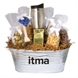 Warm & Cozy Gift Tub Filled with Treats - Gift tub filled with an imprinted coffee tumbler, chocolate covered treats and other tasty snacks.