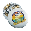 Mini Glad Tiding Tins with Twist Wrapped Truffles - Holiday themed tin filled with 24 pieces of twist-wrapped chocolate truffles.