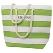 Gonzalo Beach Bag - Multi-stripes beach bag with magnetic snap closure.