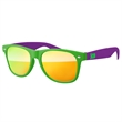 Kids 2-tone Sunglasses w/ 1-color imprint - Quality PC Retro sunglasses with mirror UV400 impact resistant PC lenses.
