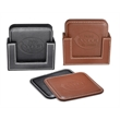 Vintage Leather 4-Square Coaster Set - 4 piece set of square shaped, vintage leather coasters and a holder in a 2-piece gift box.
