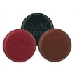 """Vintage Round Leather Coaster - Vintage style 3-7/8"""" x 3/16"""" round bonded leather drink coaster with padding and burnished edges."""