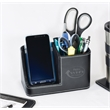 Vintage Leather Tech Caddy - Vintage leather desk caddy with charging station for phone and open compartment for desk accessories.