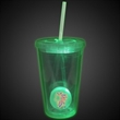 Green Light Up Travel Cup with Custom Printed Insert