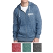 District Young Men's Marled Fleece Full-Zip Hoodie - Marled cotton/polyester fleece hoodie with white drawcord, inside trim, and metal zipper.