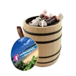 Wooden Barrel filled with Tootsie Rolls