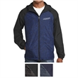 Sport-Tek Heather Colorblock Raglan Hooded Wind Jacket - Colorblock raglan hooded wind jacket with slash pockets, an exposed vislon zipper, and more.