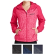 Sport-Tek Ladies' Heather Colorblock Raglan Hooded Wind J... - Ladies wind jacket made of 100% polyester with a three-panel hood, exposed vislon zipper, and contoured silhouette.