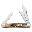 Genuine Burnt Stag Small Stockman - Small stockman knife, clip, sheepfoot and pen blades.