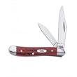 Pocket Worn (R) Old Red Bone Peanut - Peanut knife, clip and pen blades.