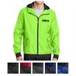 Sport-Tek Embossed Hooded Wind Jacket - Embossed, hooded, water-repellant wind jacket made of 100% polyester with raglan sleeves.