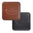 """Vintage Leather Square Coaster - 3-3/4"""" x 3-3/4"""" square coaster made of genuine bonded leather with contrast stitching and velvet back"""