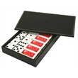 Custom Dominoes in Black Leatherette Box - Executive Style Domino Set in Black Leather Box w/ white accent stitching