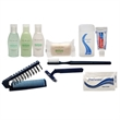 Restore amenity group - Amenity kit includes shampoo, soap, lotion, toothbrush and more, blank.