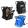 "Cooler Backpack Chair - This 24 can capacity cooler has an integrated folding chair. It is made of  600D material.Its size is 14.17"" x 11.41"" x 15.7""."