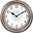 Bulova Indoor/Outdoor Lighted Wall Clock & Thermometer - Indoor/Outdoor Clock. Weather-resistant molded case, champagne finish.  Responsive lights automatically turn on/off from sundown t