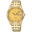 Seiko Mens Gold-Tone Solar Watch w/Champagne Dial - Men's gold-tone watch.