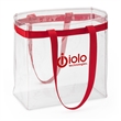 "Scrimmage Stadium Clear Tote - PVC tote with web band accent, matching shoulder straps and 5 3/4"" gusset."