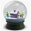 Snow House Crystal Ball Globe