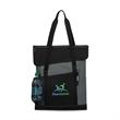 Freelance Convention - Polyester tote bag with top zippered pocket, flap closure, front slash pockets, mesh water bottle pocket and shoulder straps.