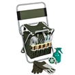 Gardon Tools set - garden tool set, composed of a zippered detachable tote bad and folding stool seat with a backrest