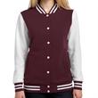 Sport-Tek Ladies' Fleece Letterman Jacket - Ladies fleece letterman jacket made from 65/35 ringspun combed cotton/poly fleece.