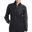 Sport-Tek Ladies' Piped Colorblock Wind Jacket - Ladies water-repellent wind jacket made from 100% polyester.
